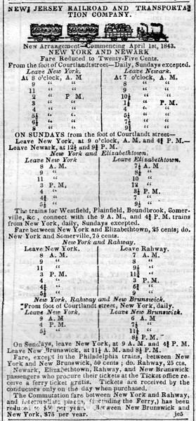 1843 New Jersey Railroad & Transportation Company.