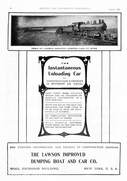 1903 Lawson Improved Dumping Boat and Car Co.<br /> <br /> NYNHH #427.
