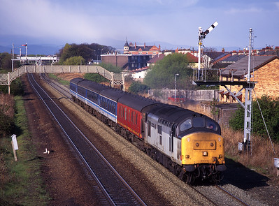 37417 departs Prestatyn with the 07.39 Holyhead-Crewe on 4/5/96.