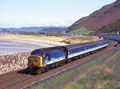 37422 passes Conwy Morfa with the 13.24 Crewe-Holyhead on 4/5/96.