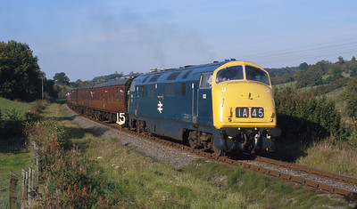 In glorious evening light, a visiting 832 'Onslaught' operates an SVR service near Arley during a gala weekend. 17/10/99