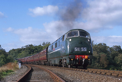 In all-over green, D821 'Greyhound' departs Bewdley for Kidderminster on the Severn Valley Railway. 11/10/98