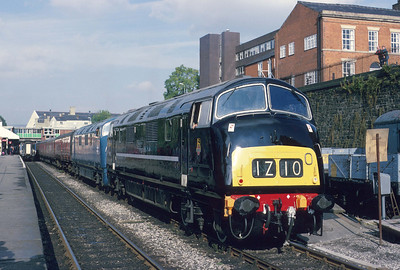 What might have been! A black liveried D832 teams up with classmate D821 on the East Lancashire Railway at Bury Bolton St. station. 3/10/93