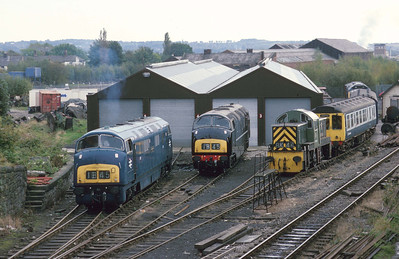Almost a Western Region shed scene as the two preserved Warships rest alongside a class 14 at Bury, ELR. 3/10/93