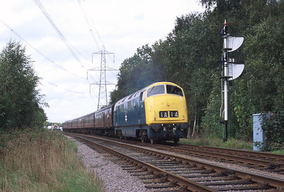 832 'Onslaught' has passed Swithland and approaches the Rothley stop with a Loughborough-Leicester North train. 1/10/00