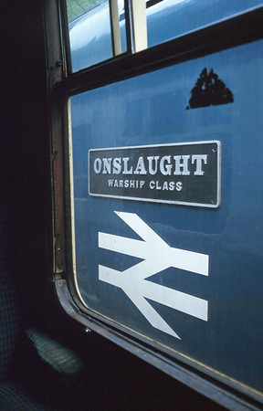 'Onslaught' glimpsed from the compartment of a BR mark 1 coach on the West Somerset Railway. 17/5/97