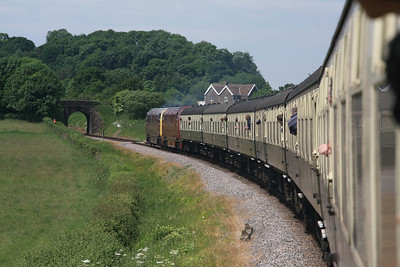 The two surviving members of class 42, D832 'Onslaught' and D821 'Greyhound', running between Crowcombe and Williton. 11/6/10