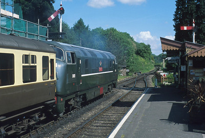 D821 departs north from Hampton Loade with chocolate and cream stock with very few clues to show that this is a scene from the 1990s.