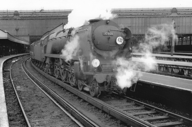 Deputising for a diesel failure on the 12 30 Bournemouth Belle departure on 12/03/67 was Weymouth's 35028 Clan Line. I paid the supplement and travelled with her that day; and 7 more times (accumulating 1,727 miles in total) before withdrawal from Nine Elms in July 67 - and heading off into preservation.