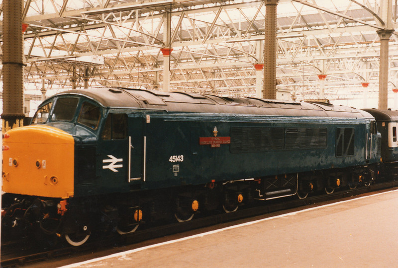 "45143 after the rededication ceremony at which she became ""5th Royal Inskilling Dragoon Guards 1685 - 1985"" on 11/06/85 - being, however, scrapped in 1994."
