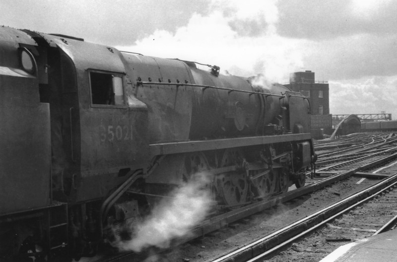 A regular departure viewed from platform 11 was the 13 30 for Weymouth/Bournemouth West. Seen here ready for the off on 29/04/64 is Merchant Navy 35021 New Zealand Line - this Bournemouth locomotive being withdrawn in August 65 before I had the chance for a run with her.