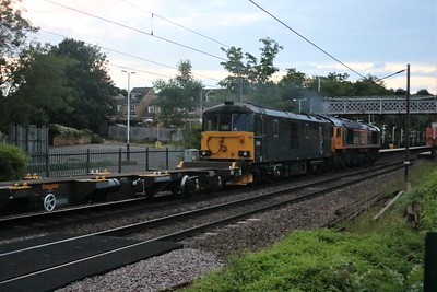 66769_73968 pass Welwyn North in fading light at 2110/6E35 Eastleigh Works to Peterborough GBRF Depot. Also in the consist was 1 x wagon 643005_006    15/06/20