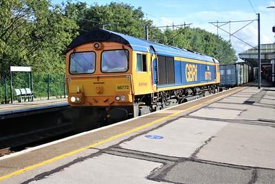 66772 passes Hertford North at 1638 on 4E20 Felixstowe to Masborough diverted Modal   22/08/20
