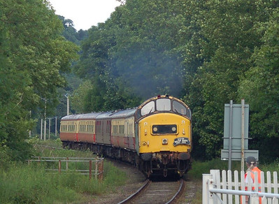 37250 approaching the level crossing at Wensley with the 1630 ex Leeming Bar
