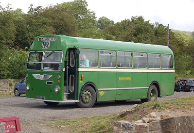 Another view of preserved Eastern National ECW bodied Bristol MW 208YVX at Redmire, this time taken from the train.