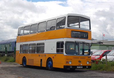 Preserved Tyne & Wear PTE Alexander bodied Scania BR112DH 413 (JFT413X) at Leeming Bar, 24th June 2012.