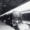 MY locomotive - 34052 Lord Dowding at Salisbury on 24/04/65 with the 18 35 departure for Waterloo. Accumulating over 1,173 miles with this Salisbury allocated locomotive with her on 23 journeys I was aboard her final passenger duty on 07/07/67. I was to travel on this service on over 100 occasions and, resulting from its usual lightweight formation, many high speeds were recorded.