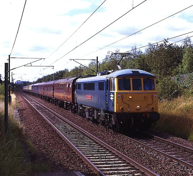 86101 Sir William Stanier with 87002 Royal Sovereign dead on the rear cruse through Musselburgh on the ECML with the return of a GBRF Staff tour from Edinburgh to Retford 23/7/2011