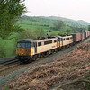 86606 leads 86633 Wulfruna as they scream up the climb to Grayrigg near Oxenholme with a liner for Coatbridge, 5/5/2000.