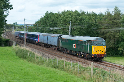The promised sunny day soon became a cloudy day... 31601 passes Hincaster with a Kilmarnock-Old Oak Common stock move 21/7/12.