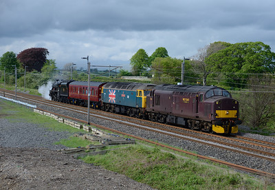 """A lucky patch of brightness at Elmsfield as 37706 hauls 47580 """"County of Essex"""" and Black 5 45231 """"The Sherwood Forester"""" from Shap summit to Carnforth on 11/5/14.  The steam loco had failed there 2 days earlier."""
