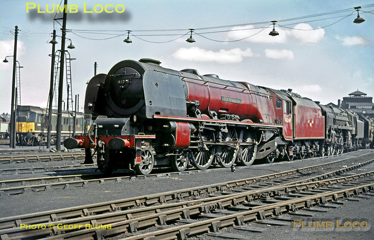"""LMS Stanier """"Princess Coronation"""" Class 4-6-2 No. 46245 """"City of London"""" in nicely clean condition at Willesden MPD, Sunday 3rd May 1964. Immediately behind is BR Standard 4-6-2 No. 70021 """"Morning Star"""" with another """"Brit"""" behind that. In the background is a Class 24 Bo-Bo Diesel, possibly D5104, in original green livery. Slide No. 632."""