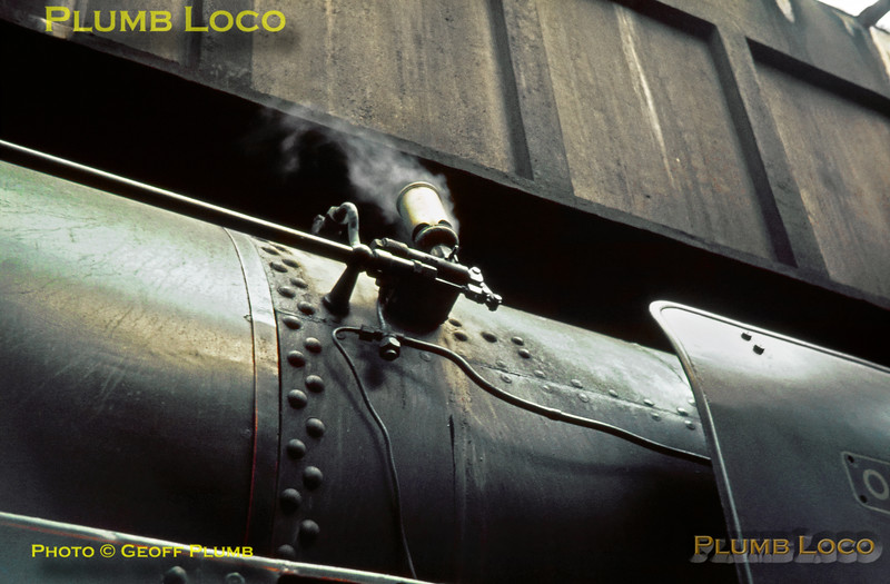 """Whistle, 70013 """"Oliver Cromwell"""", Carnforth MPD, 2nd June 1968"""