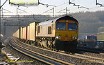 GBRf 66713 heads north on the down slow line at Old Linslade whilst working 4M21, the 03:26 Felixstowe to Hams Hall Intermodal train. 07:20, Saturday 19th March 2011. Digital Image No. GMPI8208.