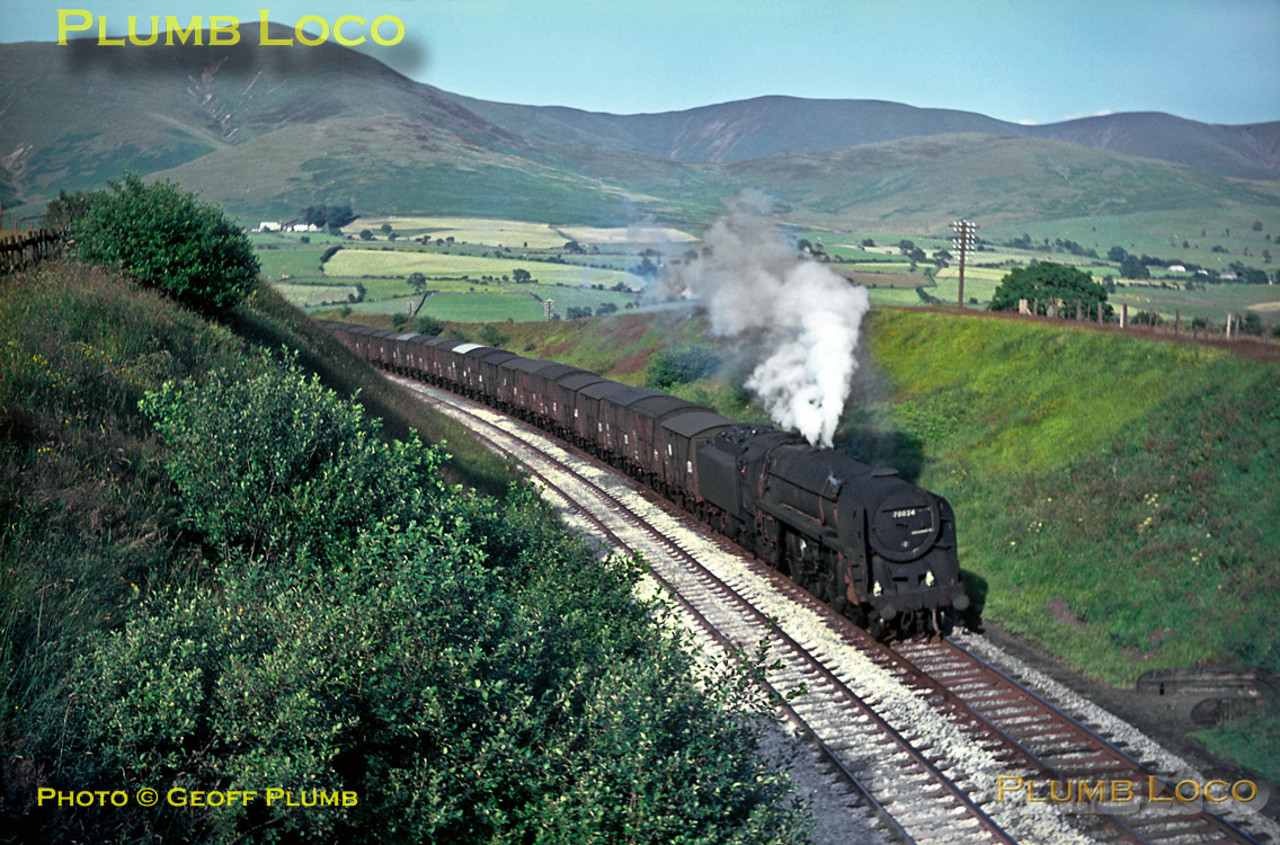 """70024 """"Vulcan"""" is emerging from the Lune Gorge, near Low Gill, with an up fitted freight on the lovely afternoon of Monday 18th July 1966. Slide No. 2224."""