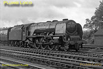 """LMS Stanier """"Duchess"""" Class 4-6-2 No. 46250 """"City of Lichfield"""" about to go onto the water troughs at Bushey with a down express to Carlisle and Glasgow on the afternoon of Tuesday 21st August 1962. B&W Negative No. 166."""