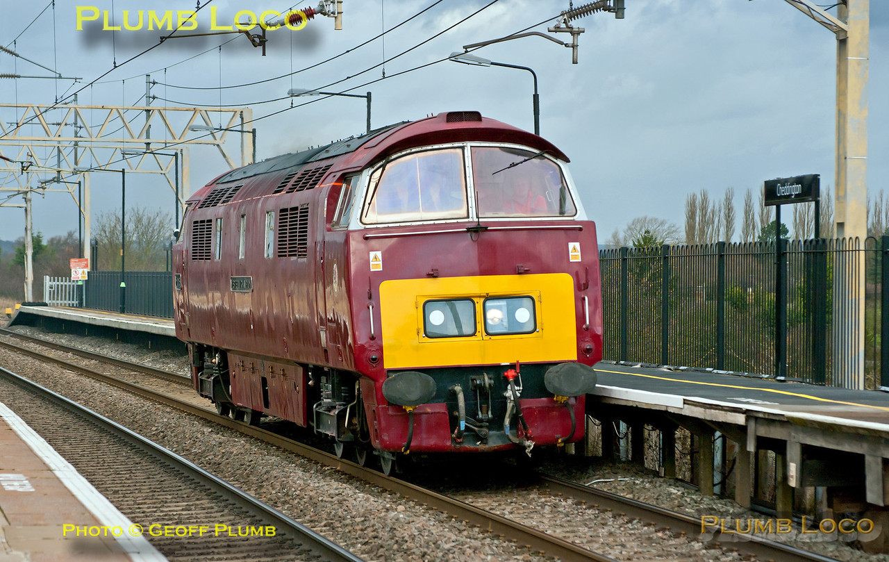 "An unusual sight on the West Coast Main Line! Class 52 No. D1015 ""Western Champion"" worked light engine as 0Z52 from Tyseley to Old Oak Common, here passing through Cheddington station dead on time at 13:31 on Thursday 22nd November 2012. Digital Image No. GMPI12930."