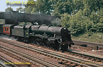 """LMS Rebuilt """"Royal Scot"""" Class 4-6-0 No. 46148 """"The Manchester Regiment"""" picks up water from the troughs at Bushey with a down express, Saturday 8th June 1963. Slide No. 101."""