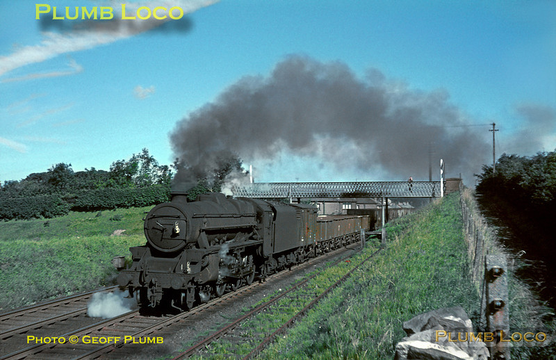 "From the Geoff Plumb Collection of original slides. ""Black 5"" 4-6-0 No. 44878 heads south with an up goods train, approaching Shap station on the morning of Friday 27th August 1965. Photo by Mike Burnett."