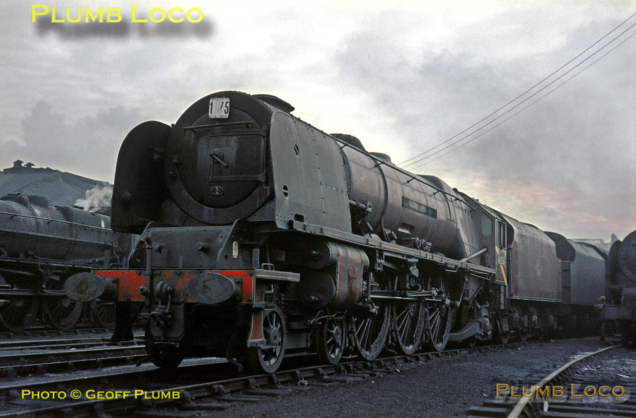 """46256 """"Sir William A. Stanier F.R.S."""", Crewe North MPD, October 1964"""