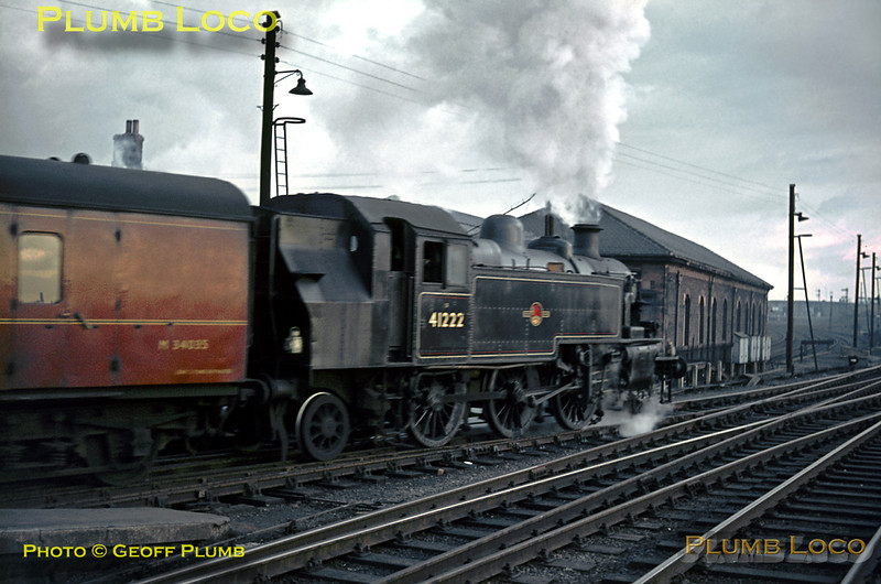 LMS Ivatt 2-6-2T No. 41222 on station pilot duties at Carlisle Citadel station, shunting some parcels vans around on the late afternoon of Saturday 13th February 1965. The light was already insufficient for a short exposure, so the moving engine is somewhat blurred, but a pleasing picture nevertheless. 41222 was one of the class fitted with auto-train control equipment and had been a regular engine on the Wolverton to Newport Pagnell branch trains, while it was allocated to Bletchley MPD. Slide No. 1192.