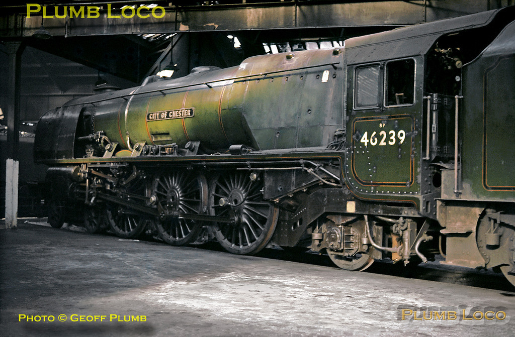 """Stanier LMS """"Princess Coronation"""" Class 8P 4-6-2 No. 46239 """"City of Chester"""" in the roundhouse at Willesden MPD, Saturday 12th October 1963. Slide No. 422."""