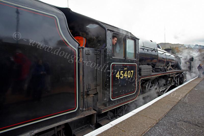 45407 at Crianlarich Station - 27 October 2012