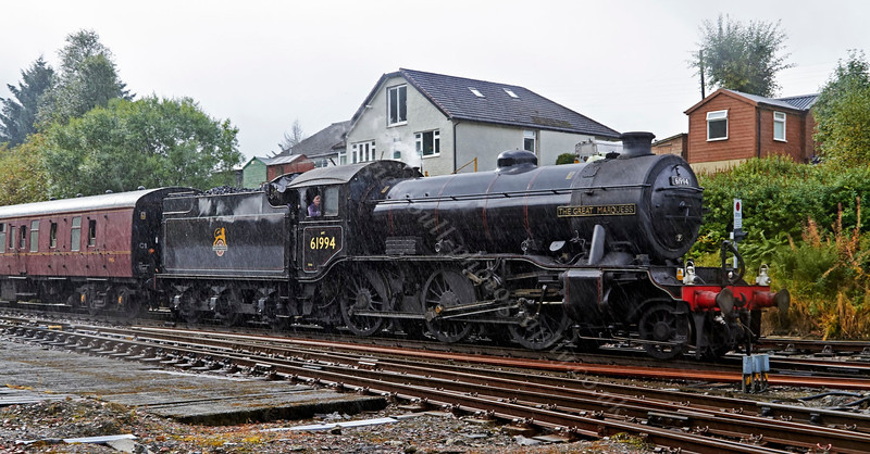 Great Marquess (61994) Arriving at Crianlarich Station in the Pouring Rain - 22 September 2013