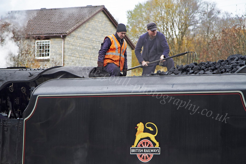 Moving Coal on 44871 at Crianlarich Station - 27 October 2012