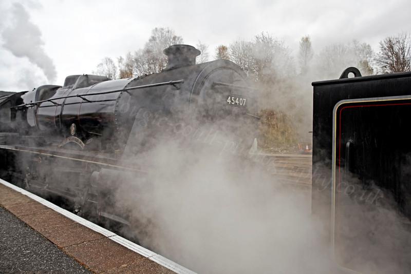 45407 and Plenty of Steam at Crianlarich Station - 27 October 2012