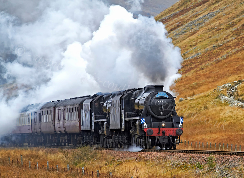 44871 and 45407 Power Down to Crianlarich on the West Highland Line  - 27 October 2012