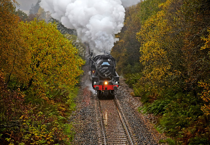 Steam Locomotive (45407) - The Lancashire Fusilier - Leaving Crianlarich in Torrential Rain - 26 October 2013