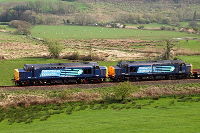 37602 and 37603 - note 37602 is ex-works, having been outshopped from Harry Needle Railroad Company's workshops at Barrow Hill recently. 20/04/11.