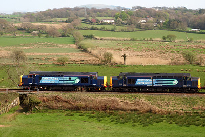 37602 and 37603 cross the Coast-to-Coast path at Linethwaite. 20/04/11.