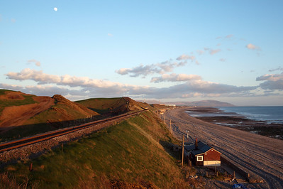 A lovely evening on the Cumbrian coast at Nethertown, as 6C46 approaches, 04/04/12.