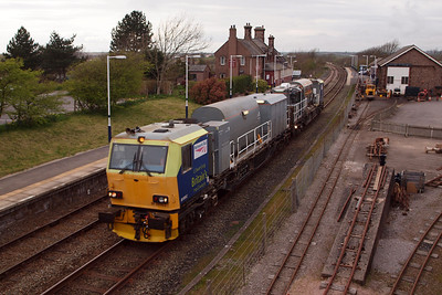 A weedkilling MPV heads south through Ravenglass, 02/04/12.