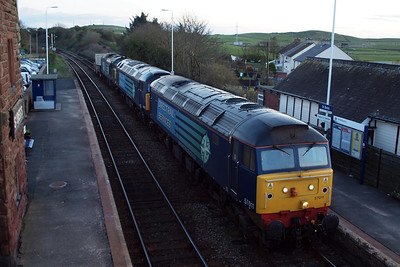 57011, 57002 & 37611 sit in the down platform at St Bees on 6C46, 04/04/12.
