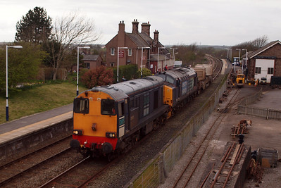 20303 leads 37409 Lord Hinton south through Ravenglass with 6K73 Sellafield - Crewe, 02/04/12.