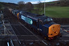37603 and 37606 roll over the level crossing at St Bees with 6M22 Hunterston - Sellafield, 04/04/12.