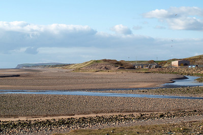 The beach at Sellafield, showing the confluence of the rivers Ehen and Calder, 04/04/12.